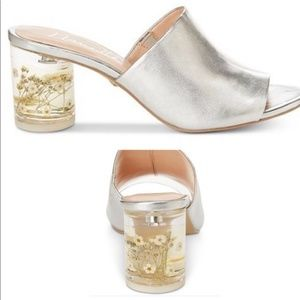 Nanette Lepore silver Mule with clear heel